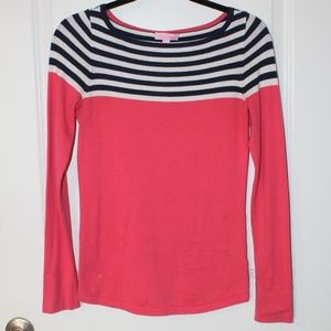 Lilly Pulitzer Pink, Navy & White Striped Sweater